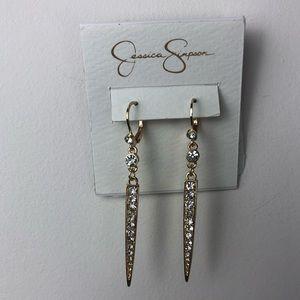 JESSICA SIMPSON gold tone CZ dangle earrings NWT